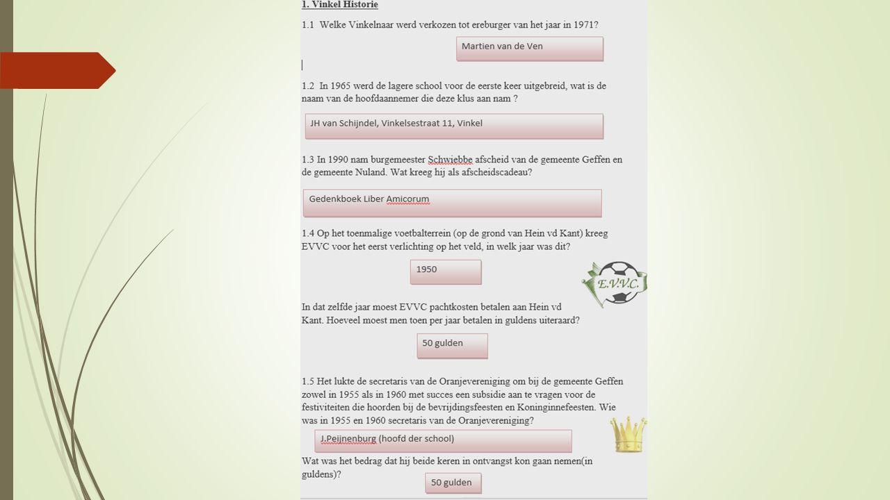 Dit waren de vragen met antwoorden van de Vinkelse kwis, jaargang 2015.
