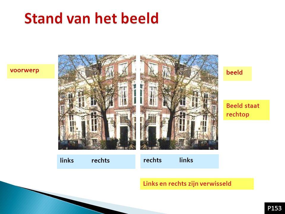 voorwerp beeld links rechts Beeld staat rechtop Links en rechts zijn verwisseld rechts links P153