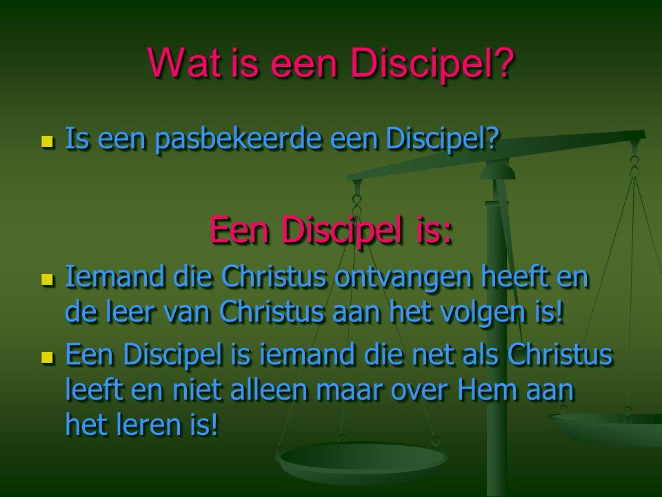 Wat is een Discipel? Is een pasbekeerde een Discipel? Is een pasbekeerde een Discipel? Een Discipel is: Iemand die Christus ontvangen heeft en de leer