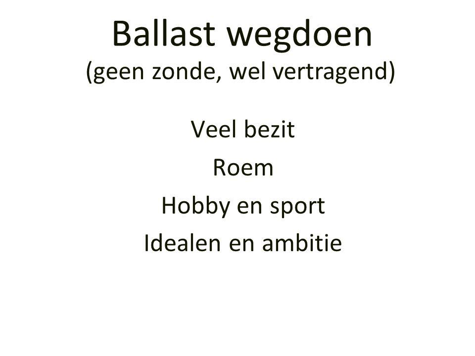 Veel bezit Roem Hobby en sport Idealen en ambitie Ballast wegdoen (geen zonde, wel vertragend)