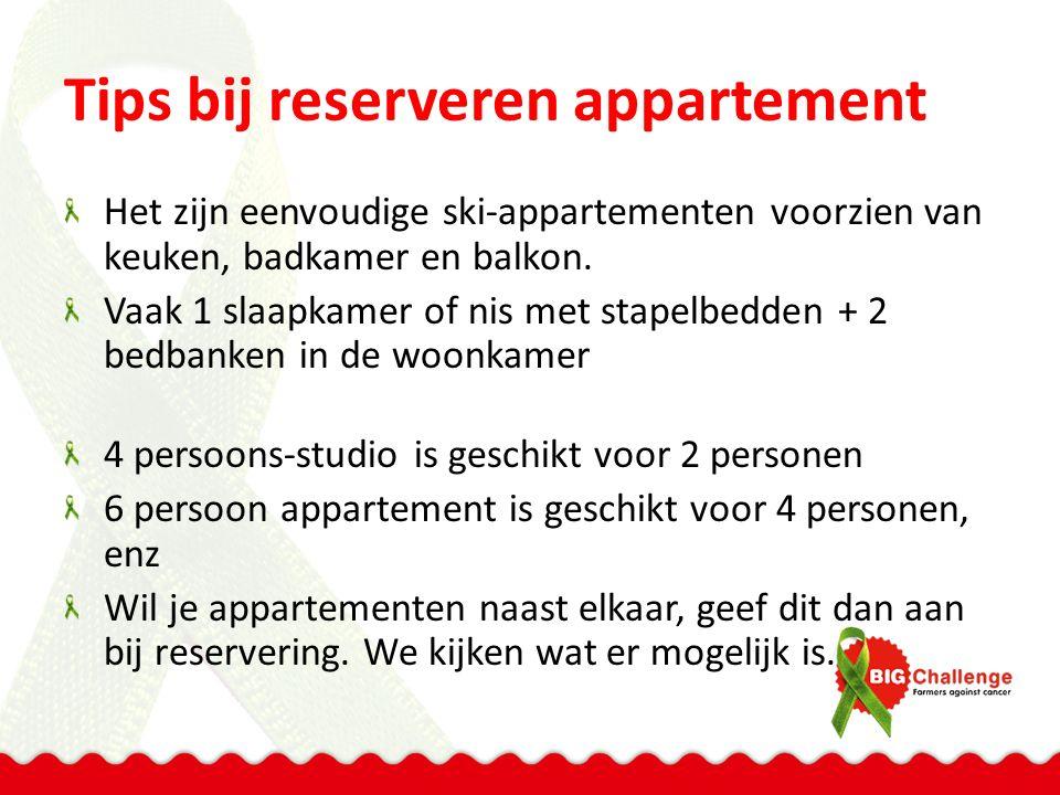 Tips bij reserveren appartement Het zijn eenvoudige ski-appartementen voorzien van keuken, badkamer en balkon. Vaak 1 slaapkamer of nis met stapelbedd