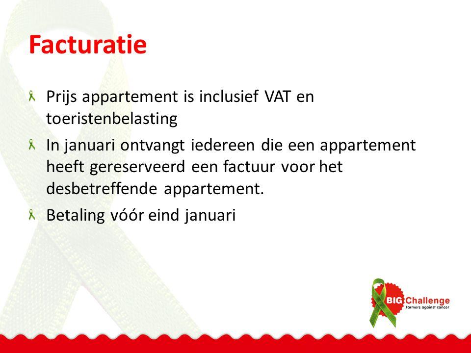 Facturatie Prijs appartement is inclusief VAT en toeristenbelasting In januari ontvangt iedereen die een appartement heeft gereserveerd een factuur voor het desbetreffende appartement.