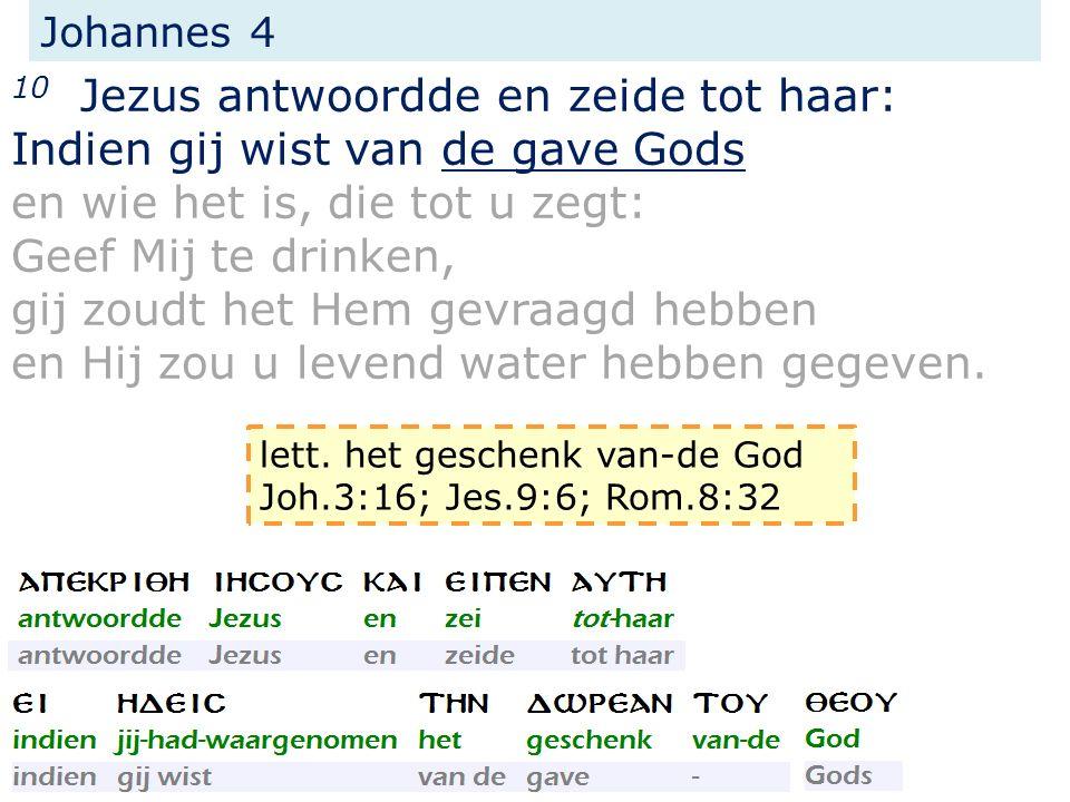Johannes 4 10 Jezus antwoordde en zeide tot haar: Indien gij wist van de gave Gods en wie het is, die tot u zegt: Geef Mij te drinken, gij zoudt het Hem gevraagd hebben en Hij zou u levend water hebben gegeven.