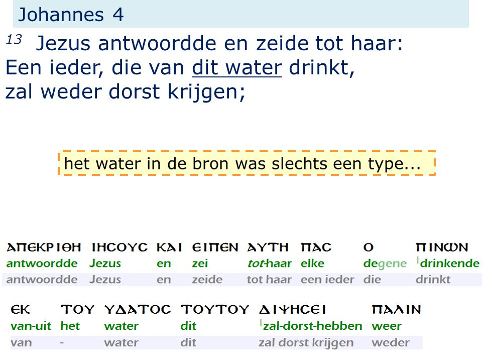 Johannes 4 13 Jezus antwoordde en zeide tot haar: Een ieder, die van dit water drinkt, zal weder dorst krijgen; het water in de bron was slechts een type...