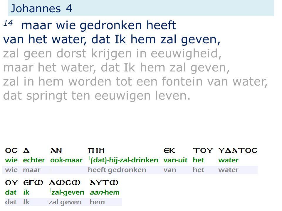 Johannes 4 14 maar wie gedronken heeft van het water, dat Ik hem zal geven, zal geen dorst krijgen in eeuwigheid, maar het water, dat Ik hem zal geven, zal in hem worden tot een fontein van water, dat springt ten eeuwigen leven.