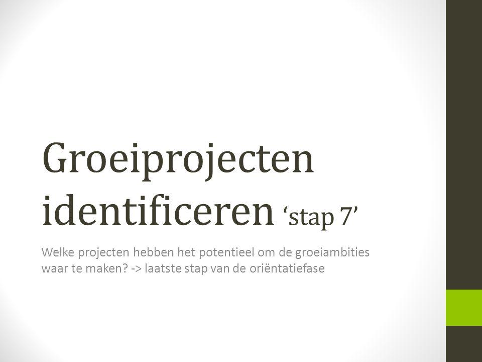 Groeiprojecten identificeren 'stap 7' Welke projecten hebben het potentieel om de groeiambities waar te maken? -> laatste stap van de oriëntatiefase