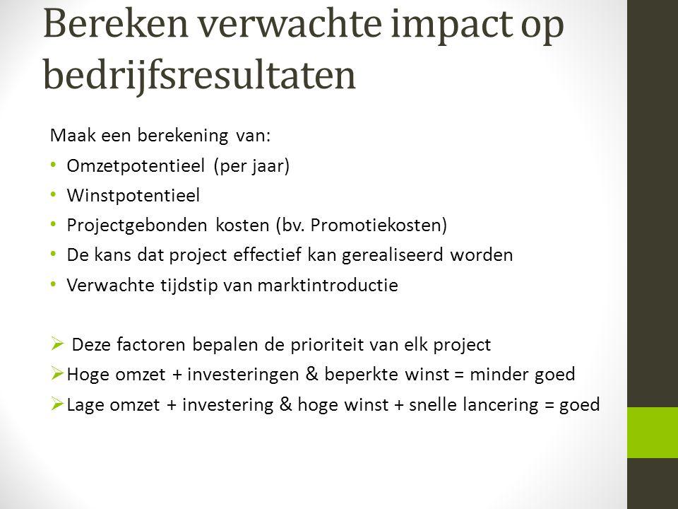 Bereken verwachte impact op bedrijfsresultaten Maak een berekening van: Omzetpotentieel (per jaar) Winstpotentieel Projectgebonden kosten (bv. Promoti