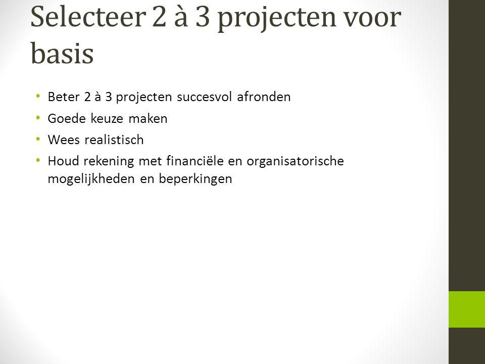 Selecteer 2 à 3 projecten voor basis Beter 2 à 3 projecten succesvol afronden Goede keuze maken Wees realistisch Houd rekening met financiële en organ