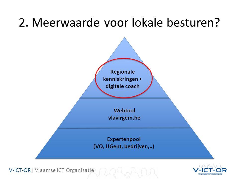 V-ICT-OR| Vlaamse ICT Organisatie 2. Meerwaarde voor lokale besturen? Expertenpool (VO, UGent, bedrijven,..) Webtool vlavirgem.be Regionale kenniskrin