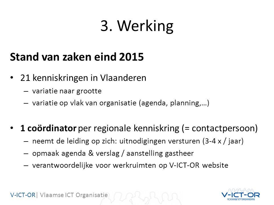 V-ICT-OR| Vlaamse ICT Organisatie 3. Werking Stand van zaken eind 2015 21 kenniskringen in Vlaanderen – variatie naar grootte – variatie op vlak van o