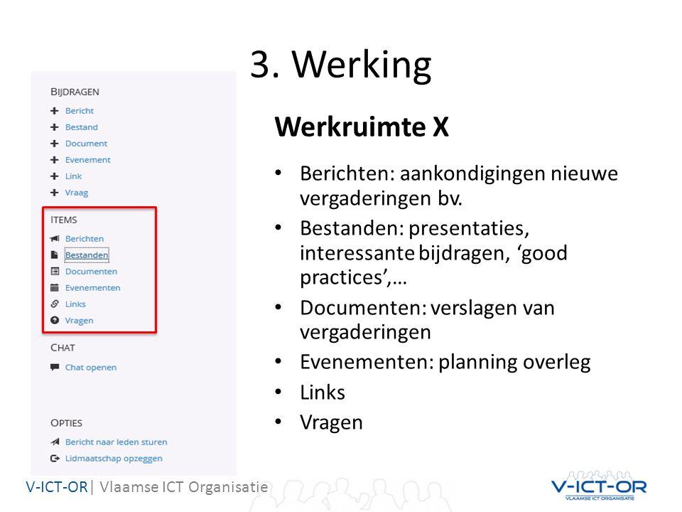 V-ICT-OR| Vlaamse ICT Organisatie 3. Werking Werkruimte X Berichten: aankondigingen nieuwe vergaderingen bv. Bestanden: presentaties, interessante bij