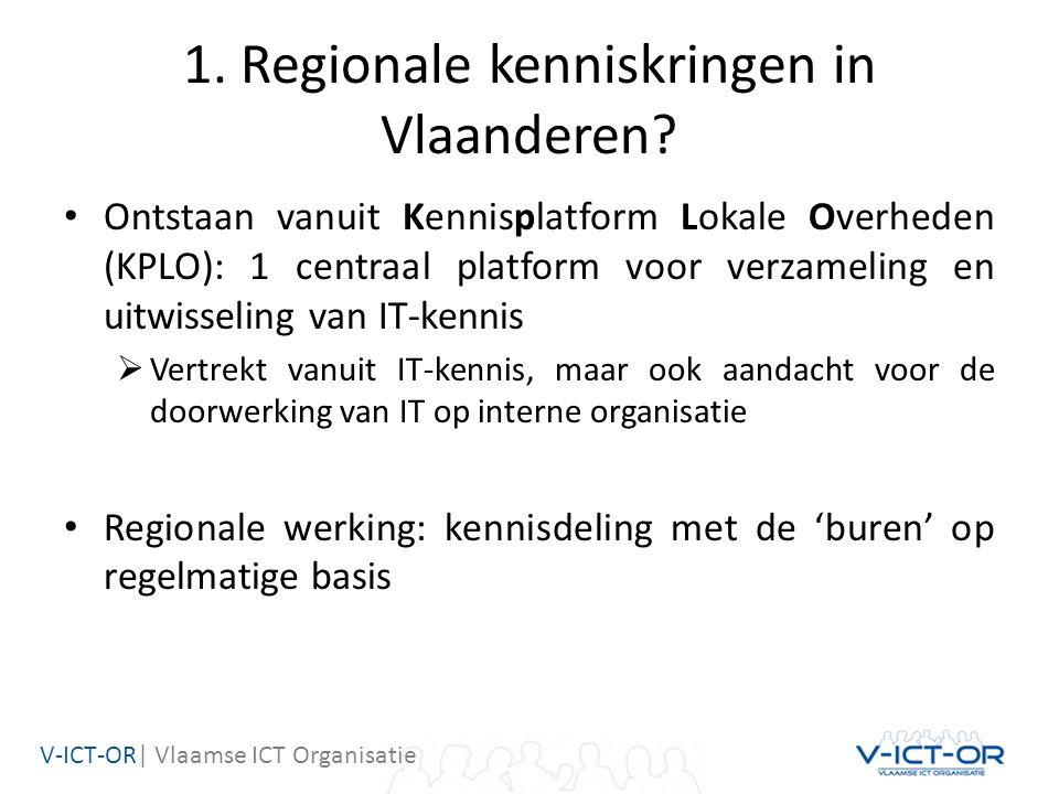 V-ICT-OR| Vlaamse ICT Organisatie 1. Regionale kenniskringen in Vlaanderen? Ontstaan vanuit Kennisplatform Lokale Overheden (KPLO): 1 centraal platfor