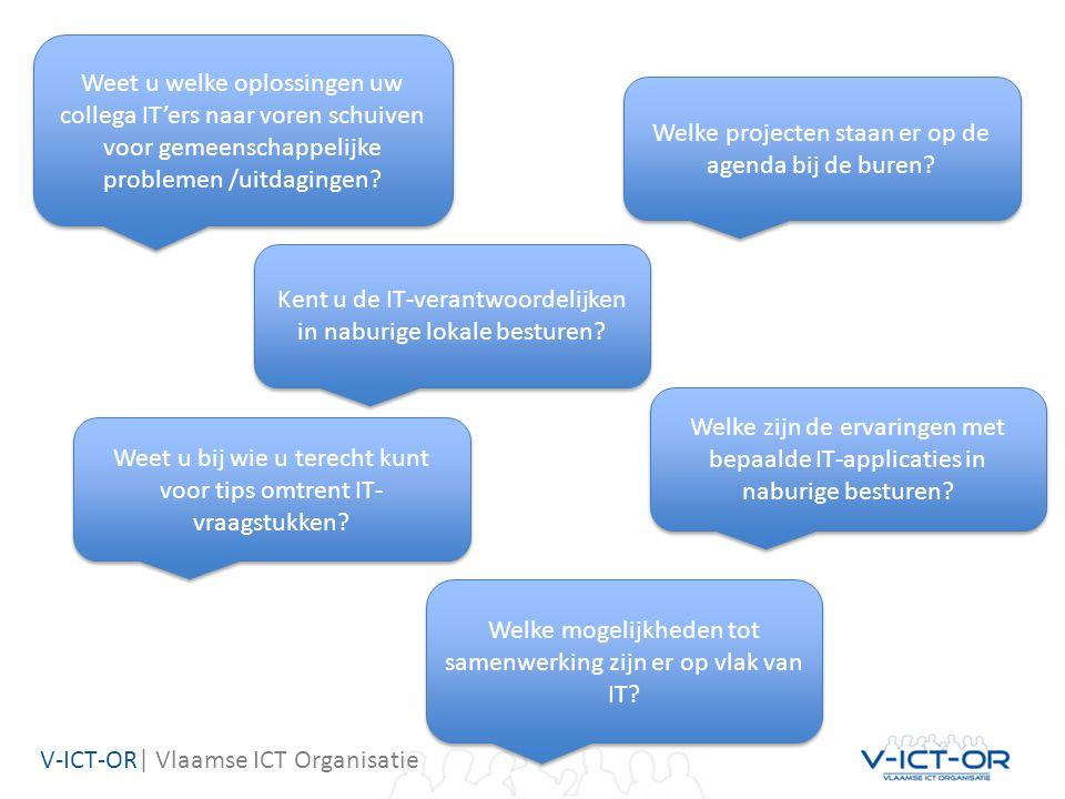 V-ICT-OR| Vlaamse ICT Organisatie Kent u de IT-verantwoordelijken in naburige lokale besturen? Weet u welke oplossingen uw collega IT'ers naar voren s
