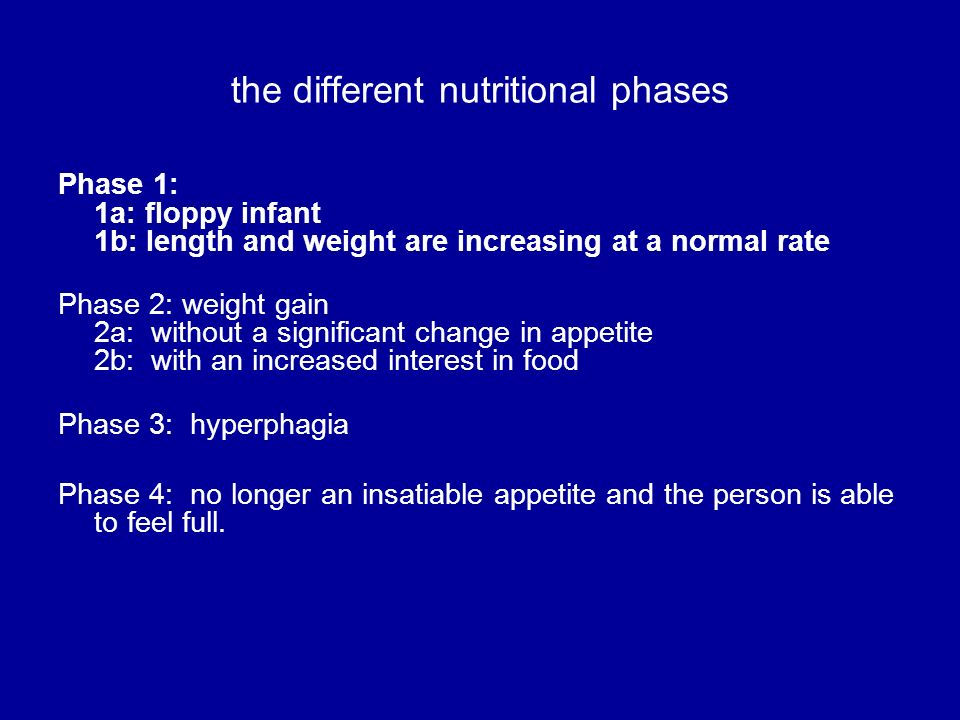 the different nutritional phases Phase 1: 1a: floppy infant 1b: length and weight are increasing at a normal rate Phase 2: weight gain 2a: without a s