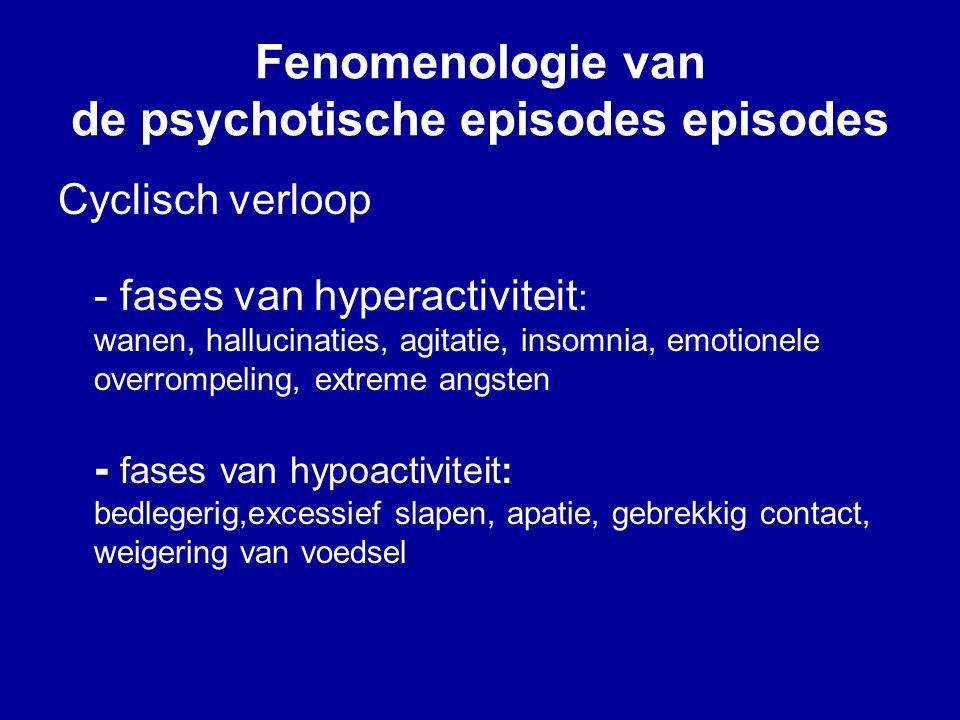 Fenomenologie van de psychotische episodes episodes Cyclisch verloop - fases van hyperactiviteit : wanen, hallucinaties, agitatie, insomnia, emotionele overrompeling, extreme angsten - fases van hypoactiviteit: bedlegerig,excessief slapen, apatie, gebrekkig contact, weigering van voedsel