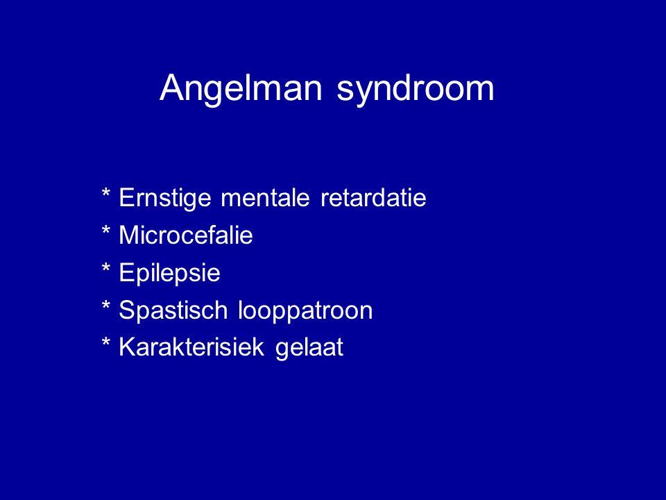 Angelman syndroom * Ernstige mentale retardatie * Microcefalie * Epilepsie * Spastisch looppatroon * Karakterisiek gelaat