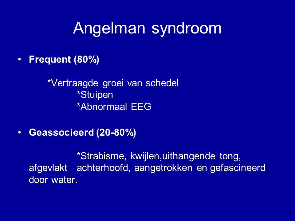Angelman syndroom Frequent (80%) *Vertraagde groei van schedel *Stuipen *Abnormaal EEG Geassocieerd (20-80%) *Strabisme, kwijlen,uithangende tong, afgevlakt achterhoofd, aangetrokken en gefascineerd door water.