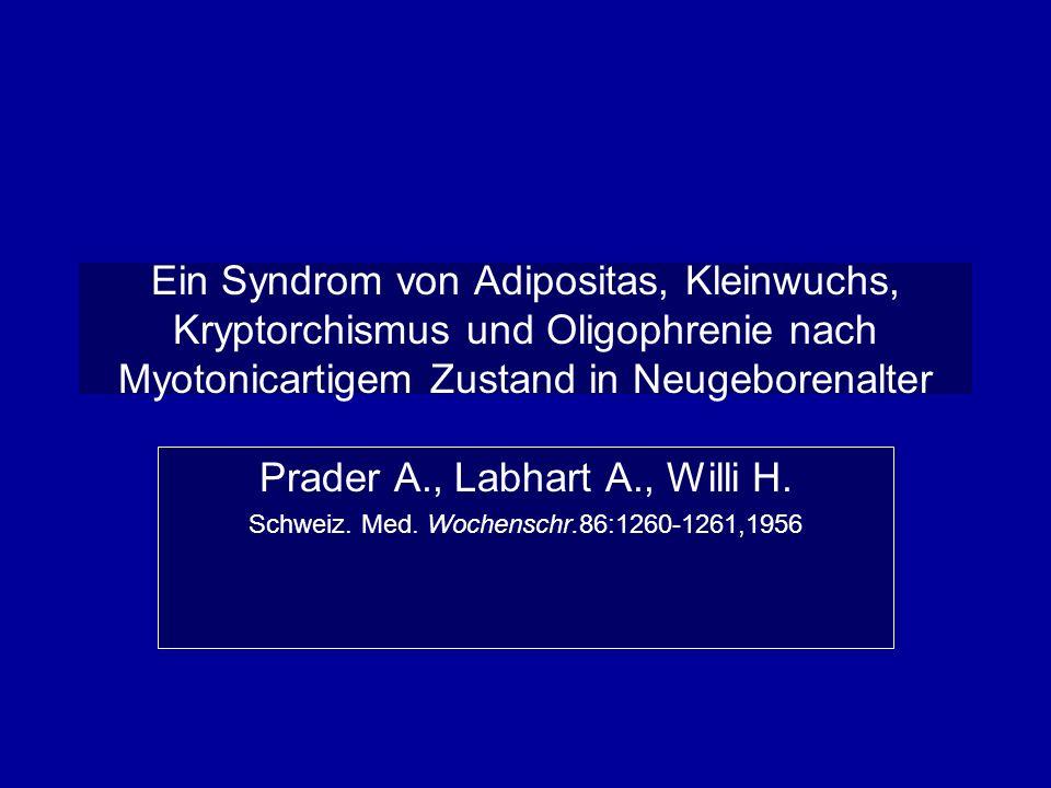 Diagnose van het Prader-Willi Syndrome voor1981:klinische diagnose 1981 : deletion 15q11-13 1983 : paternele deletion 51q11-13 1992: maternele uniparentele disomie chromosoom 15 1995: Imprinting defect op chrom 15