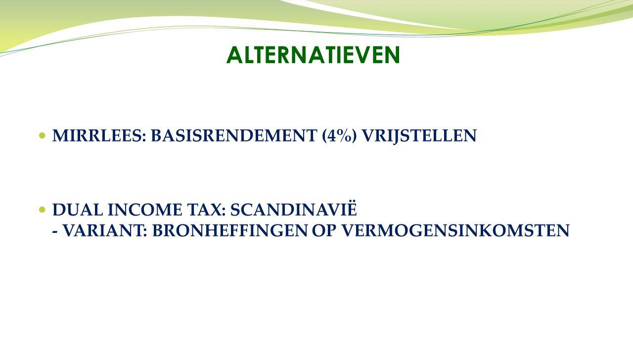 MIRRLEES: BASISRENDEMENT (4%) VRIJSTELLEN DUAL INCOME TAX: SCANDINAVIË - VARIANT: BRONHEFFINGEN OP VERMOGENSINKOMSTEN ALTERNATIEVEN