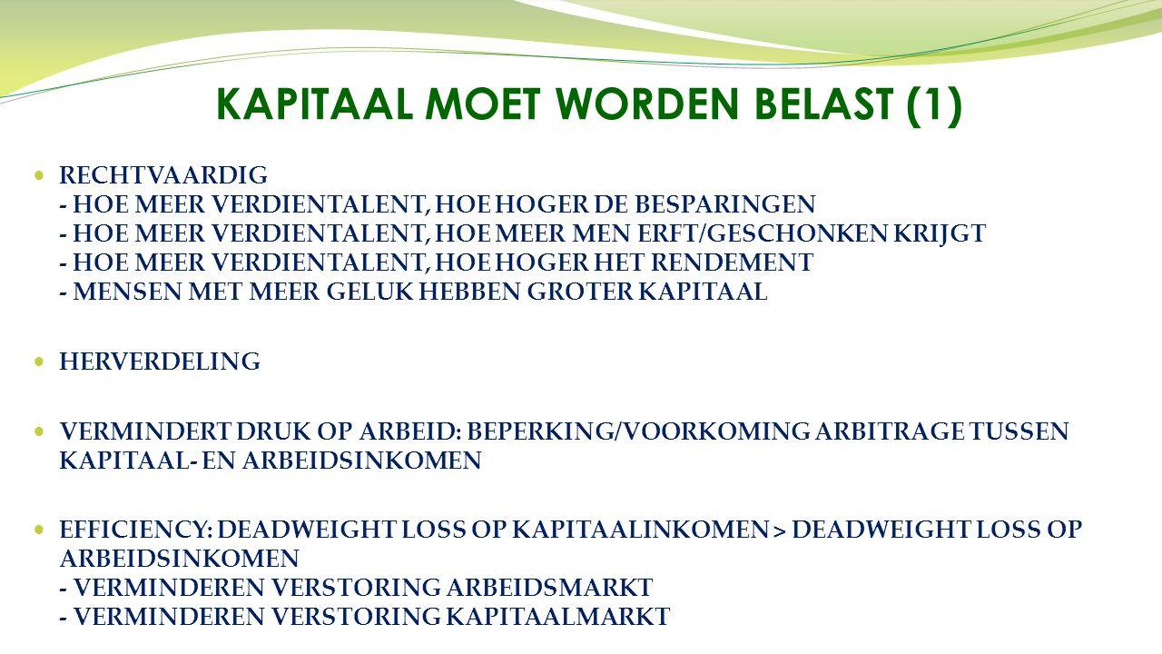 RECHTVAARDIG - HOE MEER VERDIENTALENT, HOE HOGER DE BESPARINGEN - HOE MEER VERDIENTALENT, HOE MEER MEN ERFT/GESCHONKEN KRIJGT - HOE MEER VERDIENTALENT, HOE HOGER HET RENDEMENT - MENSEN MET MEER GELUK HEBBEN GROTER KAPITAAL HERVERDELING VERMINDERT DRUK OP ARBEID: BEPERKING/VOORKOMING ARBITRAGE TUSSEN KAPITAAL- EN ARBEIDSINKOMEN EFFICIENCY: DEADWEIGHT LOSS OP KAPITAALINKOMEN > DEADWEIGHT LOSS OP ARBEIDSINKOMEN - VERMINDEREN VERSTORING ARBEIDSMARKT - VERMINDEREN VERSTORING KAPITAALMARKT KAPITAAL MOET WORDEN BELAST (1)