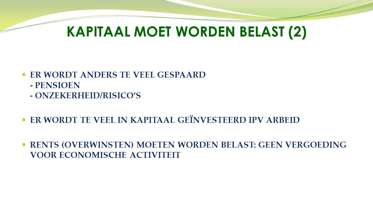 ER WORDT ANDERS TE VEEL GESPAARD - PENSIOEN - ONZEKERHEID/RISICO'S ER WORDT TE VEEL IN KAPITAAL GEÏNVESTEERD IPV ARBEID RENTS (OVERWINSTEN) MOETEN WORDEN BELAST: GEEN VERGOEDING VOOR ECONOMISCHE ACTIVITEIT KAPITAAL MOET WORDEN BELAST (2)