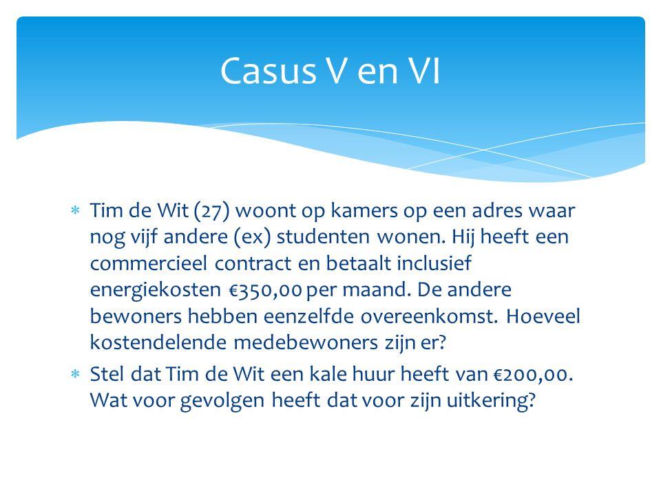  Tim de Wit (27) woont op kamers op een adres waar nog vijf andere (ex) studenten wonen. Hij heeft een commercieel contract en betaalt inclusief ener