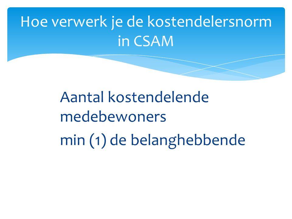 Aantal kostendelende medebewoners min (1) de belanghebbende Hoe verwerk je de kostendelersnorm in CSAM