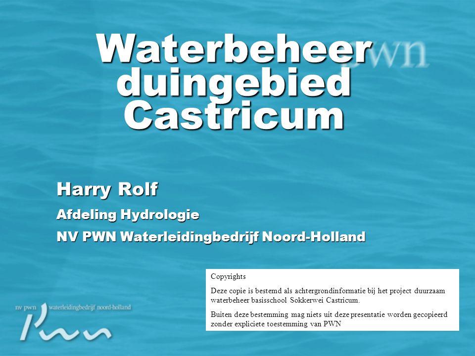 Harry Rolf Afdeling Hydrologie NV PWN Waterleidingbedrijf Noord-Holland Waterbeheer duingebied Castricum Copyrights Deze copie is bestemd als achtergrondinformatie bij het project duurzaam waterbeheer basisschool Sokkerwei Castricum.