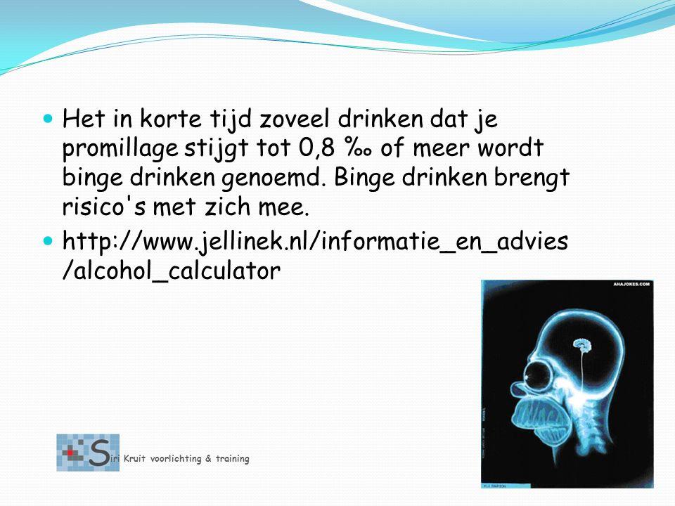 Het in korte tijd zoveel drinken dat je promillage stijgt tot 0,8 ‰ of meer wordt binge drinken genoemd.