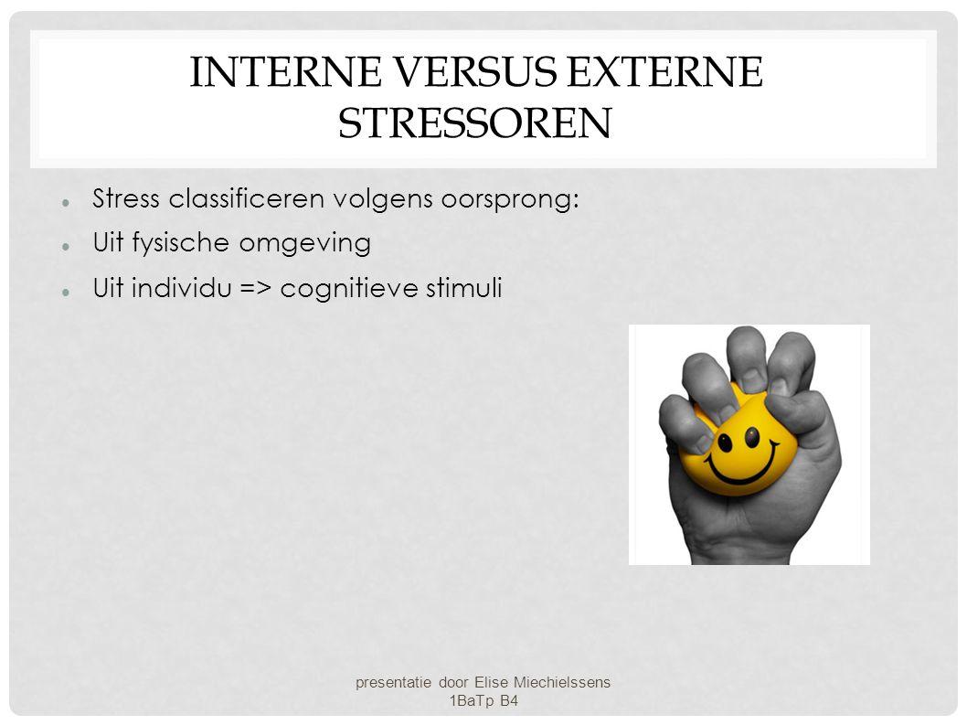 INTERNE VERSUS EXTERNE STRESSOREN Stress classificeren volgens oorsprong: Uit fysische omgeving Uit individu => cognitieve stimuli presentatie door El