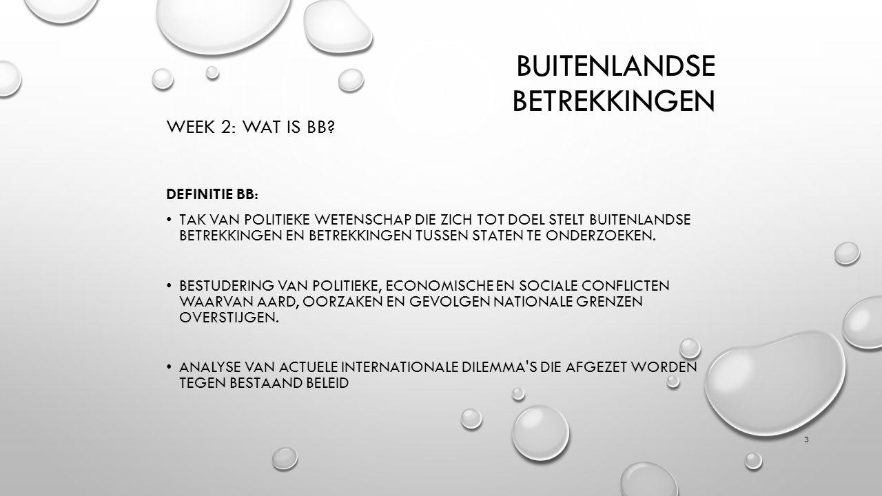 BUITENLANDSE BETREKKINGEN WEEK 2: WAT IS BB.