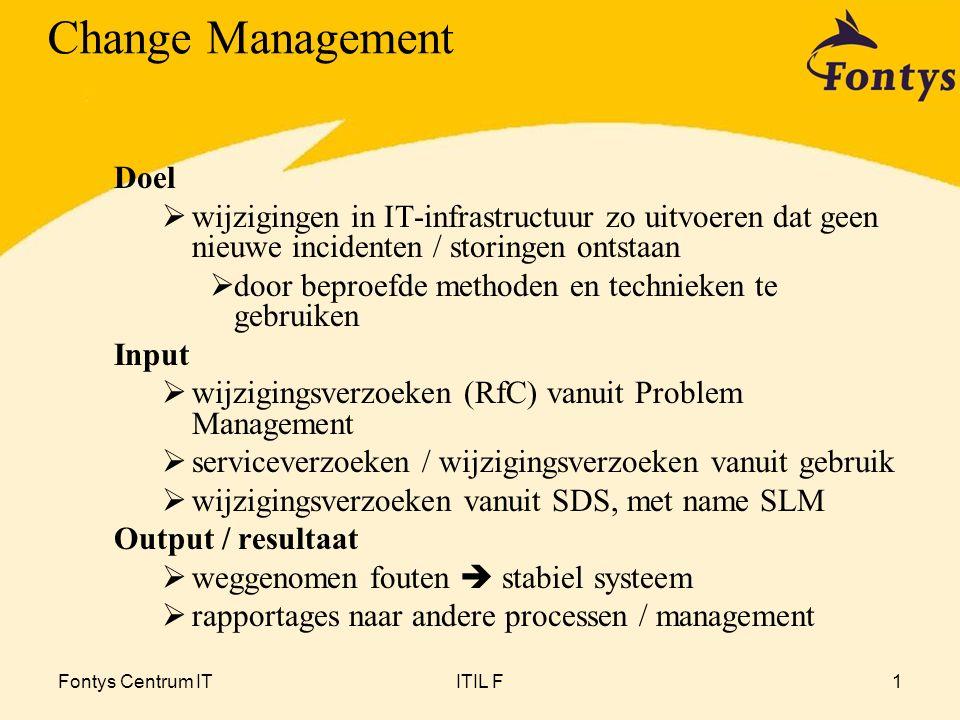 Fontys Centrum ITITIL F2 Wijziging  elke handeling die leidt tot nieuwe status CI/CI's  wijzigingen in soorten  'serviceverzoeken' en 'standaardwijziging' altijd registreren  mandaat operationeel beheer  wijzigingen waarvoor wijzigingstraject vereist Change Management Nieuwe termen