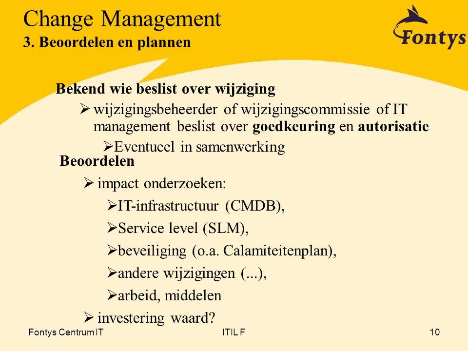 Fontys Centrum ITITIL F10 Bekend wie beslist over wijziging  wijzigingsbeheerder of wijzigingscommissie of IT management beslist over goedkeuring en