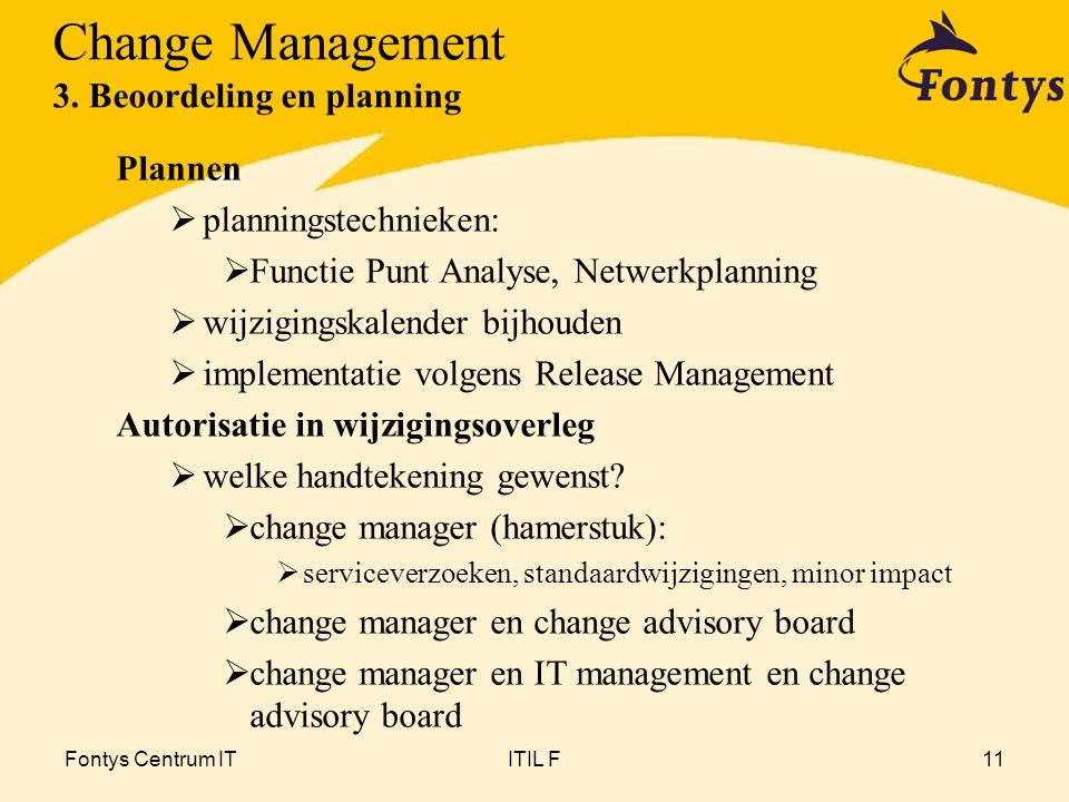 Fontys Centrum ITITIL F11 Plannen  planningstechnieken:  Functie Punt Analyse, Netwerkplanning  wijzigingskalender bijhouden  implementatie volgen