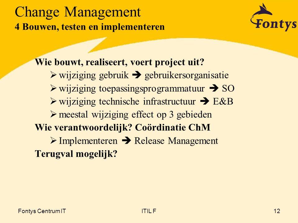 Fontys Centrum ITITIL F12 Wie bouwt, realiseert, voert project uit?  wijziging gebruik  gebruikersorganisatie  wijziging toepassingsprogrammatuur 