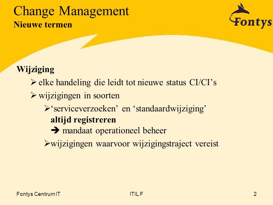 Fontys Centrum ITITIL F2 Wijziging  elke handeling die leidt tot nieuwe status CI/CI's  wijzigingen in soorten  'serviceverzoeken' en 'standaardwij