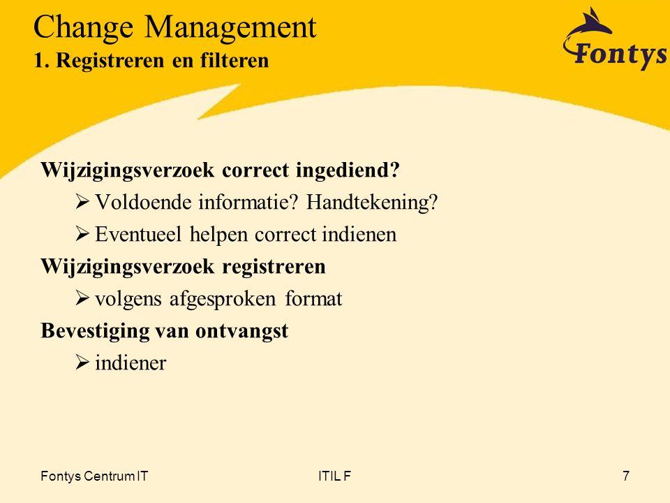 Fontys Centrum ITITIL F7 Wijzigingsverzoek correct ingediend?  Voldoende informatie? Handtekening?  Eventueel helpen correct indienen Wijzigingsverz