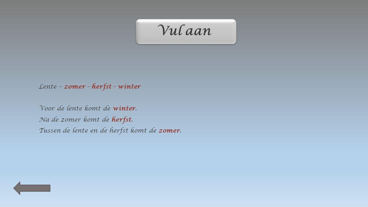 Wat hoort bij welk seizoen ? Lente 21 maart Zomer 21 juni Herfst 21 september winter 21 december winter 21 december