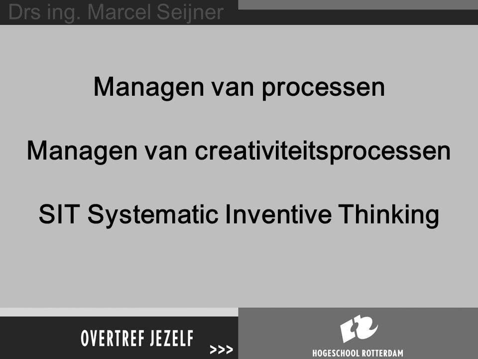 Managen van processen Managen van creativiteitsprocessen SIT Systematic Inventive Thinking Drs ing.