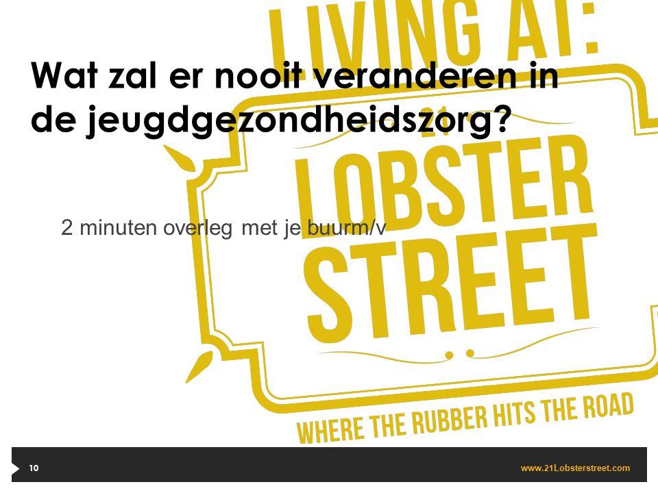 www. 21 Lobsterstreet.com Wat zal er nooit veranderen in de jeugdgezondheidszorg? 10 2 minuten overleg met je buurm/v