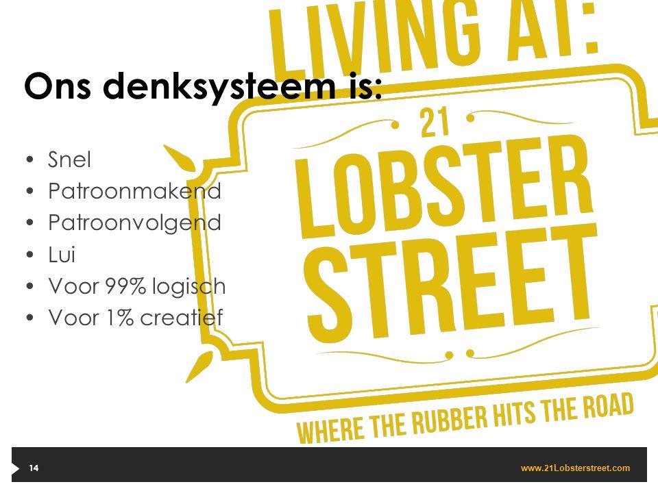 www. 21 Lobsterstreet.com 14 Ons denksysteem is: Snel Patroonmakend Patroonvolgend Lui Voor 99% logisch Voor 1% creatief