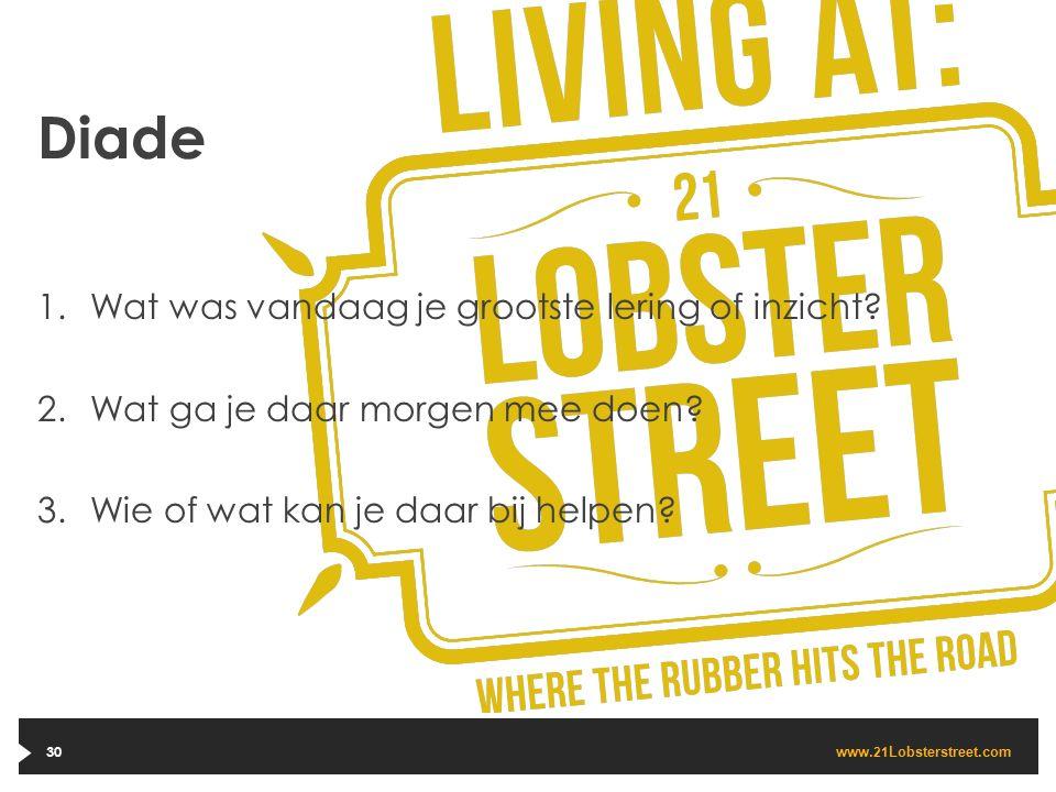 www. 21 Lobsterstreet.com 30 Diade 1.Wat was vandaag je grootste lering of inzicht? 2.Wat ga je daar morgen mee doen? 3.Wie of wat kan je daar bij hel