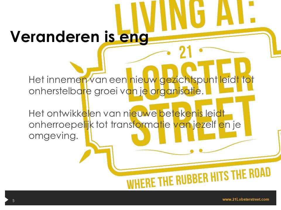 www. 21 Lobsterstreet.com Veranderen is eng 5 Het innemen van een nieuw gezichtspunt leidt tot onherstelbare groei van je organisatie. Het ontwikkelen