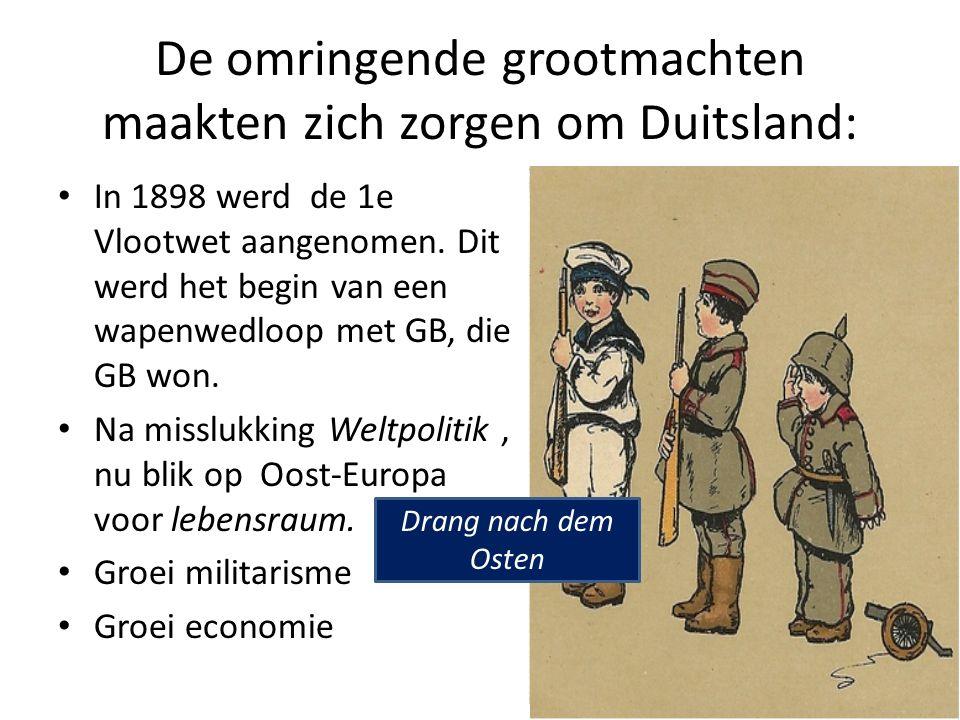 De omringende grootmachten maakten zich zorgen om Duitsland: In 1898 werd de 1e Vlootwet aangenomen.