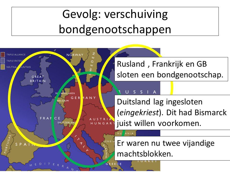 Gevolg: verschuiving bondgenootschappen Duitsland bondgenoten o.l.v.