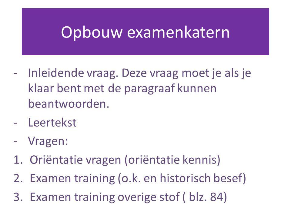 Opbouw examenkatern -Inleidende vraag.