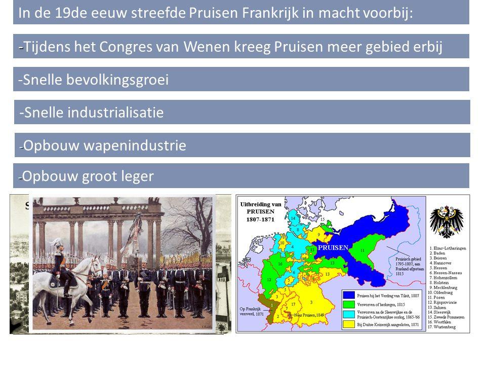 - -Tijdens het Congres van Wenen kreeg Pruisen meer gebied erbij In de 19de eeuw streefde Pruisen Frankrijk in macht voorbij: -Snelle bevolkingsgroei -Snelle industrialisatie - - Opbouw wapenindustrie - - Opbouw groot leger