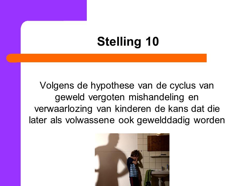 Stelling 10 Volgens de hypothese van de cyclus van geweld vergoten mishandeling en verwaarlozing van kinderen de kans dat die later als volwassene ook gewelddadig worden