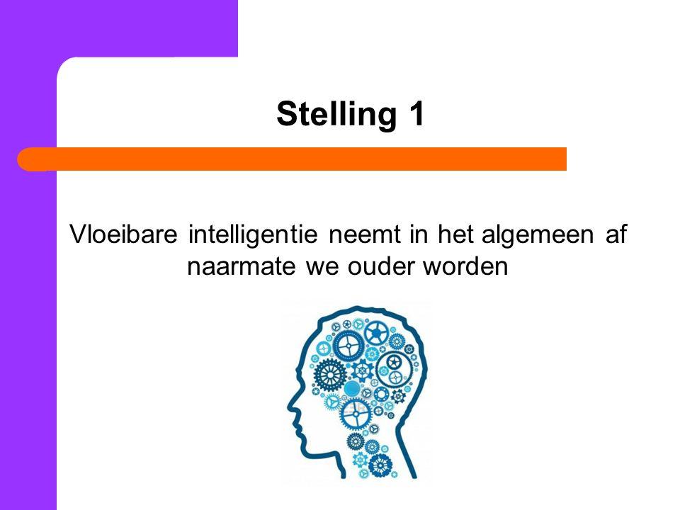 Stelling 1 Vloeibare intelligentie neemt in het algemeen af naarmate we ouder worden