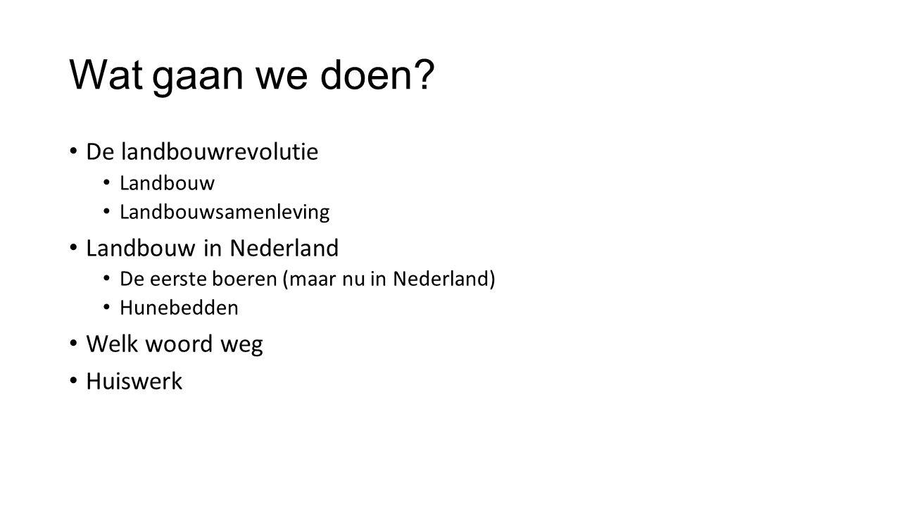 Wat gaan we doen? De landbouwrevolutie Landbouw Landbouwsamenleving Landbouw in Nederland De eerste boeren (maar nu in Nederland) Hunebedden Welk woor
